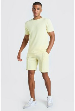 Yellow MAN Signature Jacquard T-Shirt & Pintuck Short Set