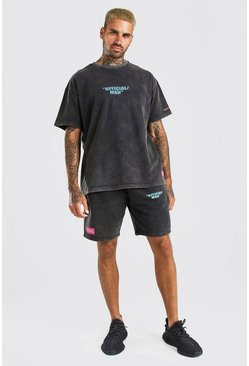 Charcoal grey Acid Wash MAN Printed T-Shirt & Short Set