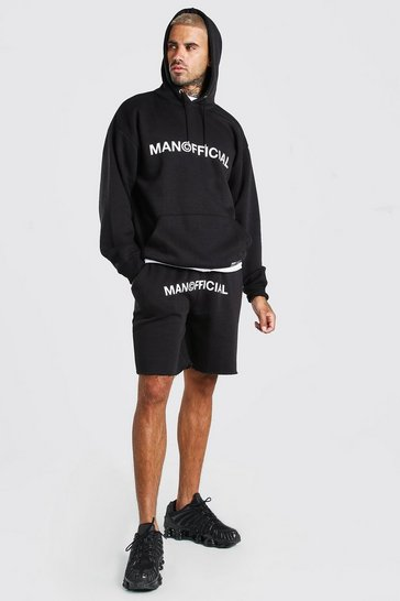 Black MAN Official Printed Hooded Short Tracksuit