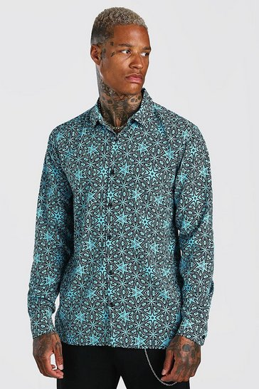 Aqua Long Sleeve Revere Collar Conversational Print Shirt