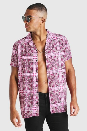 Pink Short Sleeve Revere Collar Tile Print Shirt