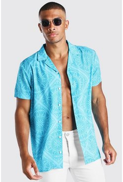 Blue Short Sleeve Revere Tile Print Shirt