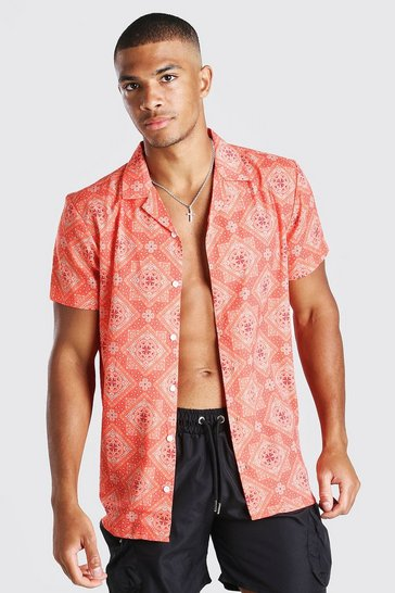 Orange Short Sleeve Revere Collar Bandana Print Shirt