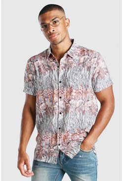 Taupe beige Short Sleeve Snake Print Shirt