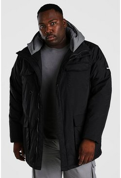 Black Plus Size Contrast Hood 4 Pocket Parka