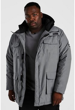 Charcoal grey Plus Size Contrast Hood 4 Pocket Parka