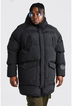 Black Plus Size Quilted Hooded Puffer