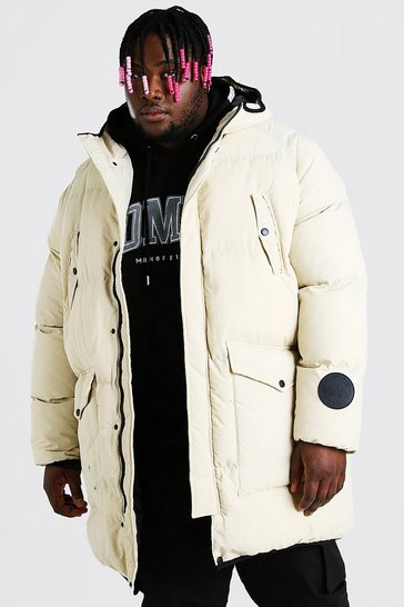 Stone beige Plus Size Quilted Hooded Puffer
