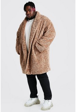 Tan brown Plus Size Faux Fur Teddy Coat