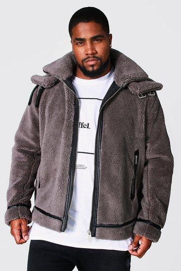 Grey Plus Size Faux Fur Double Collar Aviator