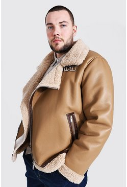 Tan brown Plus Size Leather Look Borg Collar Aviator