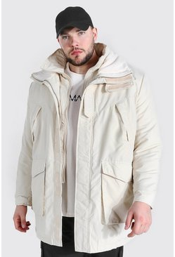 Stone beige Plus Size Funnel Neck MAN Tab Parka