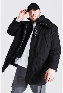 Black Plus Size Funnel Neck MAN Tab Parka
