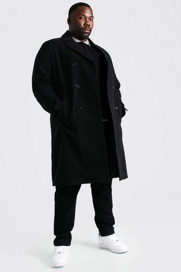 Black Plus Size Double Breasted Wool Look Overcoat