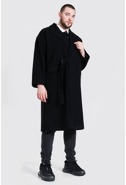 Black Plus Size Tie Waist Duster Overcoat