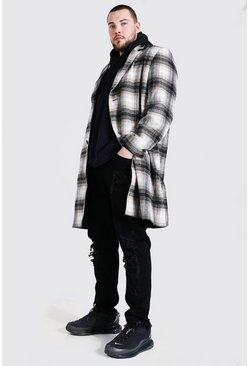 Multi Plus Size Check Single Breasted Overcoat