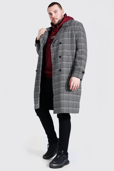 Grey Plus Size Grid Check Double Breasted Overcoat