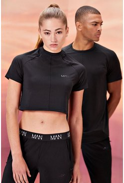 Black Hers Active Crop Top With Airtex Panel