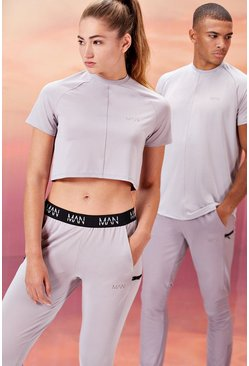 Grijs grey Active Hers Crop Top Met Airtex Paneel