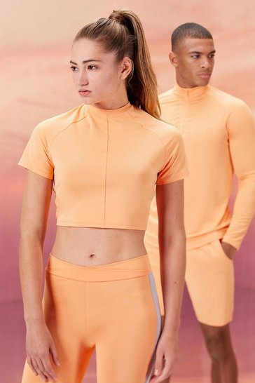 Peach orange Hers Active Crop Top With Airtex Panel