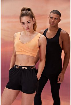Peach orange Hers Active Sports Bra With Print Detail
