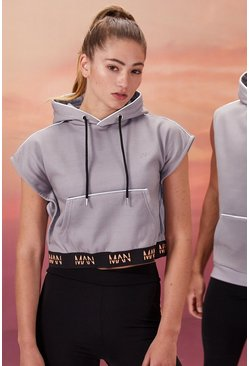 Grey Hers Active Sleeveless Cropped Hoodie