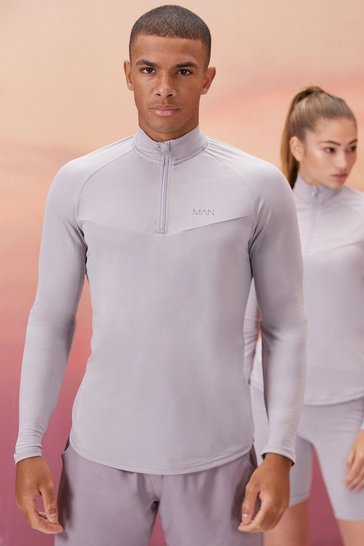 Grey His Active 1/4 Zip Funnel Neck With Notch Neck
