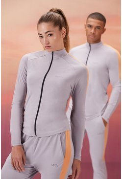 Grey Hers Active Zip Funnel Neck With Notch Neck