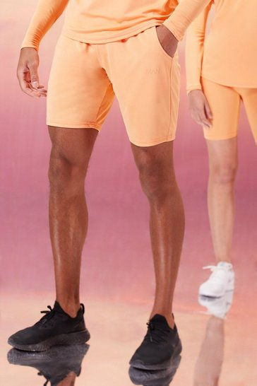 Peach orange His Active Shorts With Woven Label