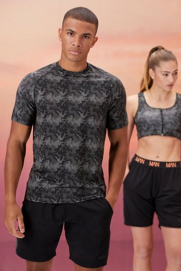 Black His Active Muscle Fit Camo Print T-Shirt