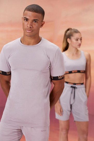Grey His Active Muscle Fit T Shirt With Cuff Detail