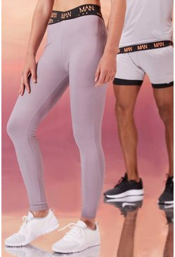 Grey Hers Active Tight With Cross Waistband Detail