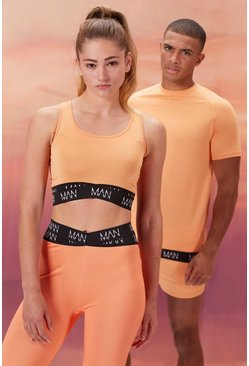 Peach Hers Active Sports Bra With Man Strap Detail
