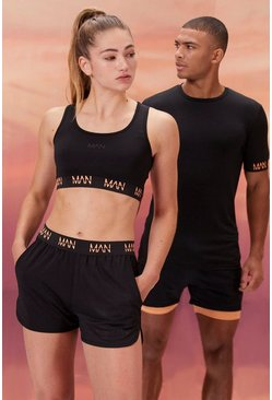 Hers Active Sports Bra With Contrast Waist, Black Чёрный