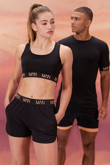 Black Hers Active Sports Bra With Contrast Waist