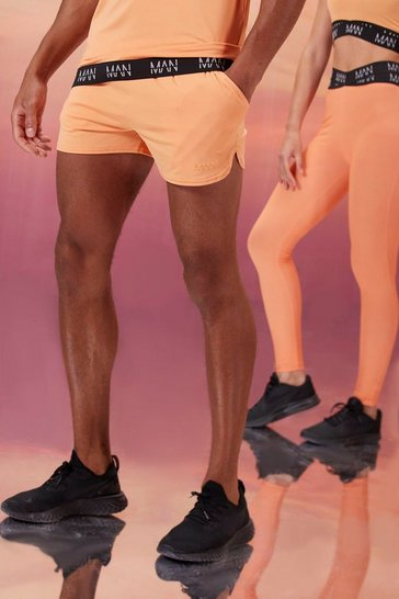 Peach His Active Runner Short With Man Waistband