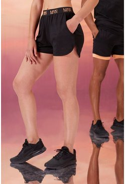 Black Hers Active Running Short With Man Waistband