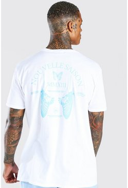 White Oversized Butterfly Back Print T-Shirt