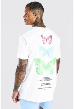 White Oversized Multi Butterfly Back Print T-Shirt