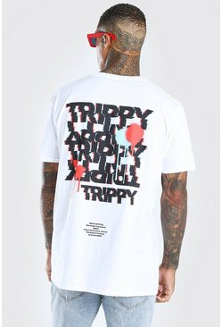 White Oversized Trippy Graffiti Print T-Shirt