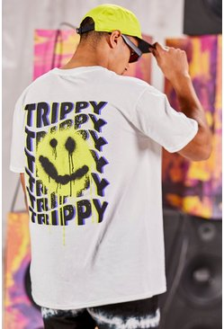 White Oversized Trippy Graffiti Graphic Print T-Shirt