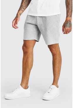 Grey marl grey BASIC MID LENGTH JERSEY SHORT