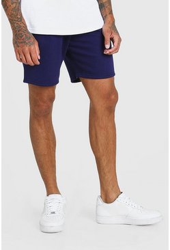 Navy Basic Mid Length Jersey Short