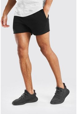 Black BASIC SHORT LENGTH JERSEY SHORT