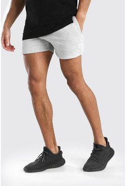 Grey marl BASIC SHORT LENGTH JERSEY SHORT