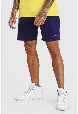 Navy MAN SIGNATURE MID LENGTH SHORT
