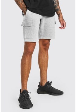 Grey marl grey BASIC MID LENGTH CARGO JERSEY SHORT