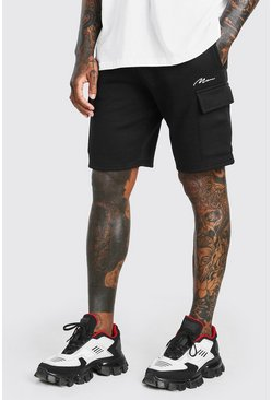 Black MAN SIGNATURE MID LENGTH CARGO SHORT
