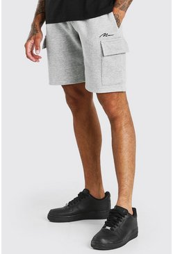 Grey marl grey Man Signature Mid Length Cargo Short