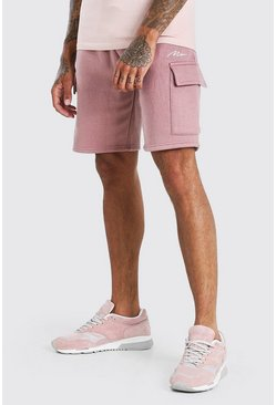 Mauve purple MAN Signature Mid Length Cargo Short